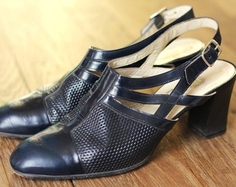 Sandals 6.5/37 Leather slingbacks heeled sandals made in Italy 6.5