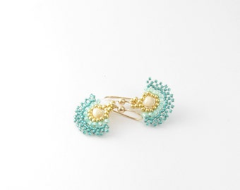 Turquoise dainty earrings tiny half circle shaped Israeli earrings