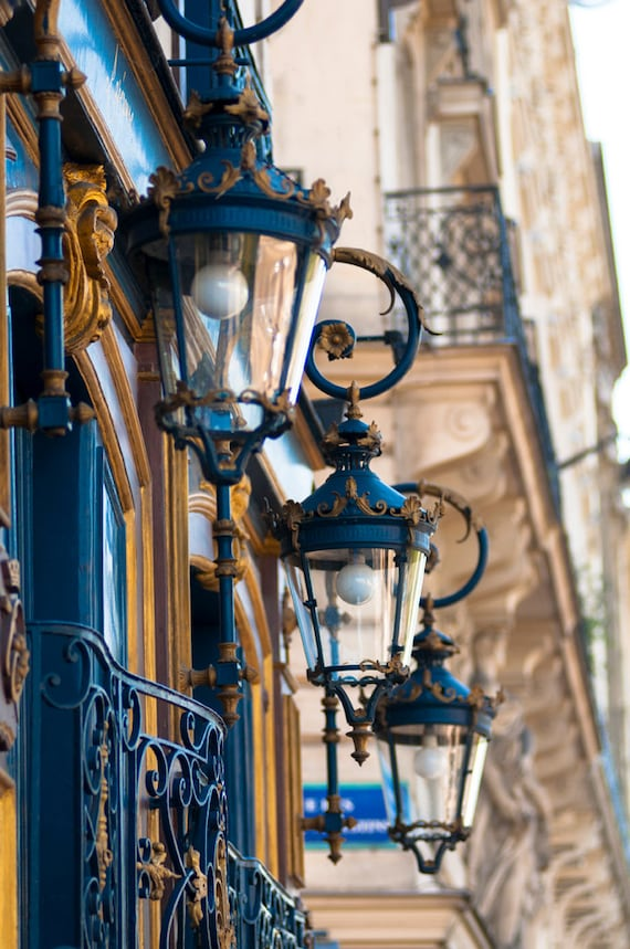 Paris Photography - Blue Lanterns, Architectural Fine Art Photo, Blue and Gold French Home Decor, Large Wall Art