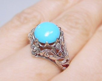 SALE! Turquoise Filigree Sterling Silver .925 Ring