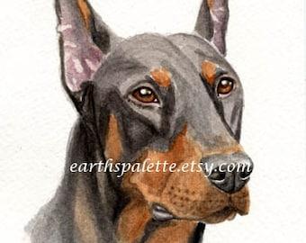 Doberman pinscher, dog painting, 51/2x8 original watercolor, art, pet portrait, animals, dogs,  earthspalette