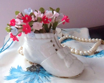 Adorable Baby Shoe, White Porcelain Shoe with Bow and Lace Holes, Newborn Size Infant Shoe