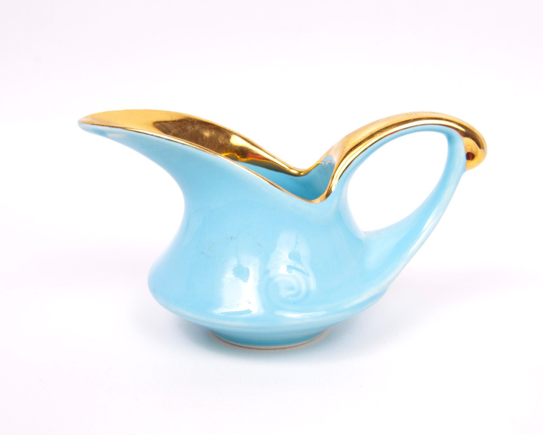 Vintage Pearl China Aqua Creamer 1940s Lusterware 22k Gold