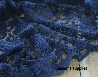 Navy blue Lace Fabric Dark Blue Floral Lace Gauze Lace Embroidery Fabric Navy Fabric Lace stretch fabric - One yard (W62)