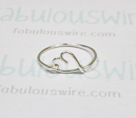 silver heart ring wire heart love ring heart shape by fabulouswire