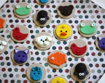 Fondant Cupcake Toppers - Brown bear Fondant Toppers - animals fondant -  Perfect for Cupcakes, Cookies and Other Edibles