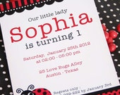 DIY PRINTABLE Invitation Card - Red Lady Bug Birthday Party - PS815CA1a1