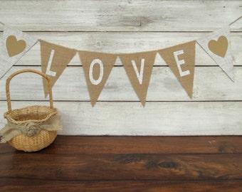 LOVE Rustic Wedding Burlap Banner / Photography Prop
