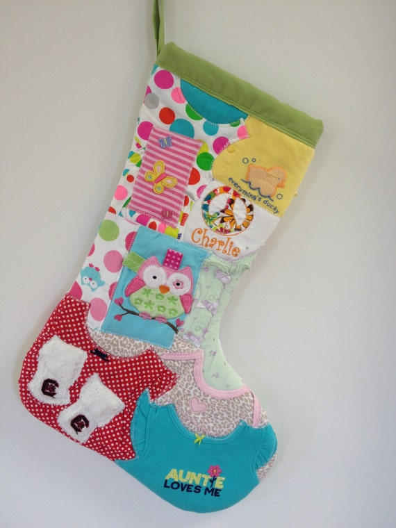 Items similar to memory quilt christmas stocking for Custom made christmas stockings