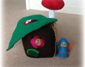 House. Fairy House Stump with two Fairies. Fairy Garden. Fairy Tale. Felt. Eco-Friendly. READY TO SHIP.