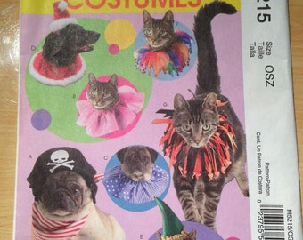 McCalls Costumes Sewing Pattern 5215 Pet Hats and Collars Uncut
