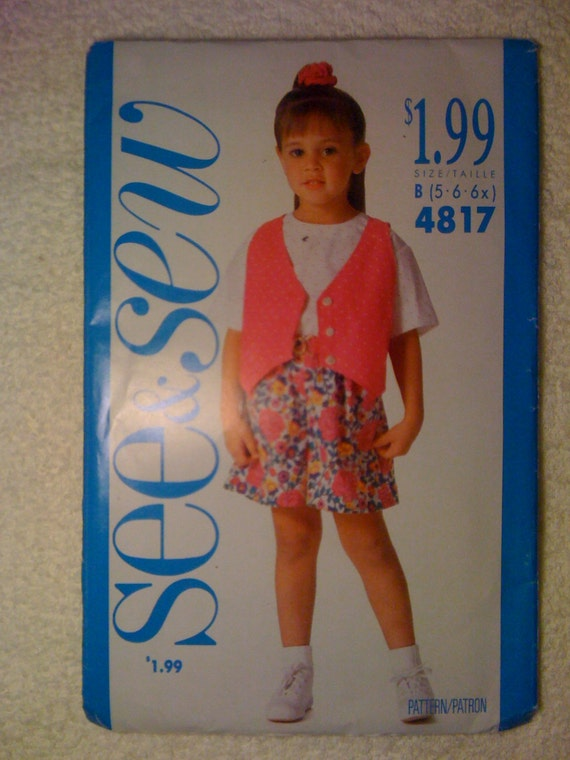 Butterick 90s See and Sew Sewing Pattern 4817 Childs Vest, Top and Shorts Size 5-6x Sale