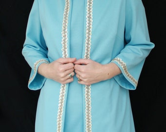 CLEARANCE / 1960s Powder Blue Sheath Dress with Matching Sequined Jacket