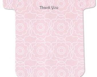 Baby Girl Thank-You Cards - Set of 10 Retro Flower Cards in Pink - Baby Shower Thankyou Notes