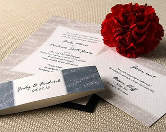 Music Wedding Invitation Suite, Musical Notes, Love song Silver, Gray, Black, White