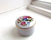 Vintage Floral Porcelain Trinket Box