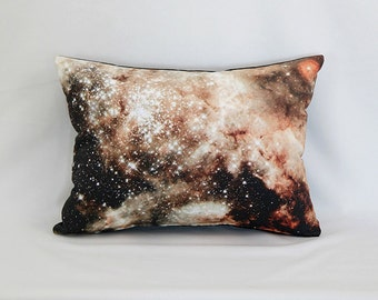 OVERSTOCK: Doradus Nebula Pillow - NASA Outer Space Galaxy Photo on Fabric; White, Brown, Tan, Black