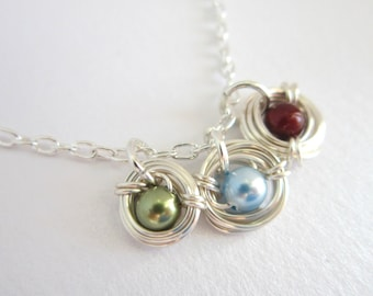 Mother's Necklace Silver Bird's Nests-Personalized Birthstone Necklace-Sterling Nest Necklace