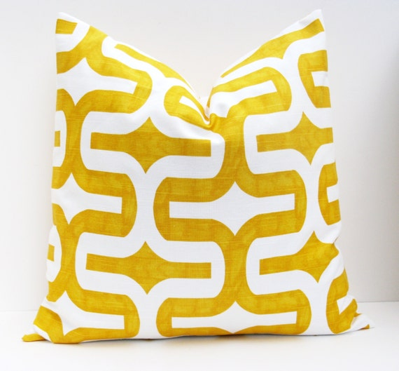 Items similar to Throw Pillow Covers 18x18 .Yellow Pillow.Decorative Pillow Cover.Cushions.Ikat ...