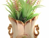 Vintage Porclean Flower Vase Raised Porclean Rose Flowers Ivory And Cream With Gold Trim Cottage Chic, Shabby Chic, Traditional