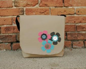 Messenger Bag for Women Purse Satchel Flowers 2 Beige Pink Aqua Brown Flowers