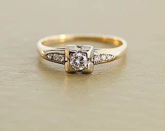 Vintage Engagement Ring - 14k Two Tone Diamond Ring