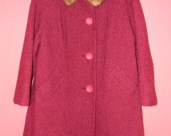 M L Medium Large Vintage 50s 60s Mink Collar Red Burgundy Cranberry Vintage Winter Coat with Pockets