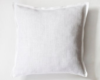 White pillow cover - linen white pillow case sewn from 100 percent linen fabric - available in custom size   0036
