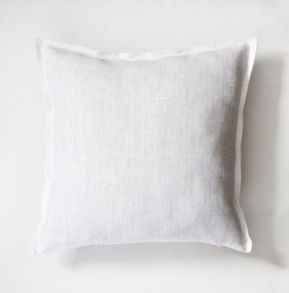 White linen pillow case - natural fabric pillow cover  - decorative pillows - euro shams  0034