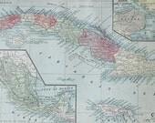1903 Cuba, Hawaii, Philippines, & Mexico Vtg Maps