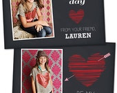 SALE Valentine's Day Card Template for Photographers Valentines Day Photo Card Photoshop Card Template - VD105 -