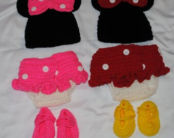 Crocheted Minnie Mouse Photo Prop for Infant - Size 0-3