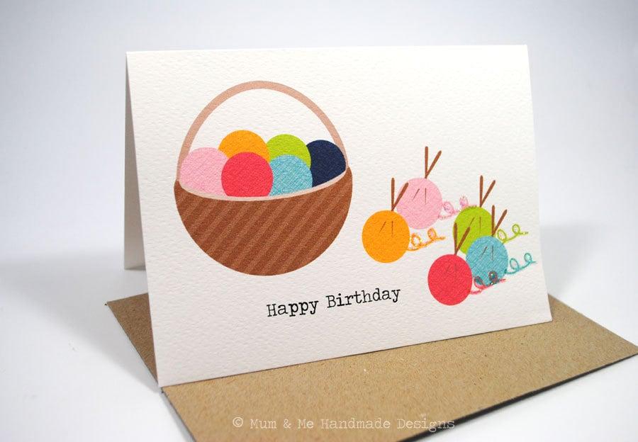 Knitting Birthday Card : Birthday card female knitting yarn hbf by mumandmedesigns
