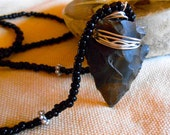 Carved Copper Wire Wrapped Arrowhead Black Toho Beads Tibetan Silver Spacers Valentine  Gift Trending Colors