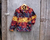 TAPESTRY JACKET multi colored coat hipster jacket red yellow orange rust blue women medium