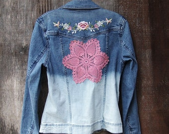 OMBRE DENIM JACKET dip dye bleached upcycled festival clothing crochet doily mandala applique floral embroidered women S M