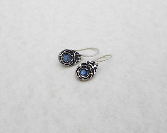 Silver and Topaz Metal Clay Earrings, PMC, Fine Silver, Blue and Silver, Small Earrings