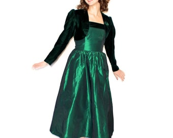 60s Maxi Dress Set. Emerald dress. Twee dress. Strapless Dress Crop Jacket. Holiday Fashion. Small. Party dress. Shark Skin. Prom dress
