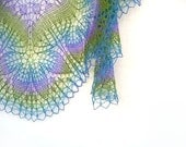 Lilac hand knit  lace shawl - purple, blue, green spring