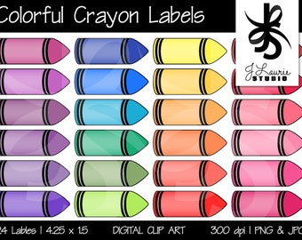 Digital Clipart Colorful Crayon Labels-Printable-Crayola Colors-Instant Download Clip Art