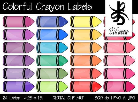 Digital clipart colorful crayon labels printable crayola for Crayon label template