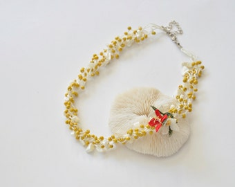 Multistrand Necklace, Yellow Beaded Collar, Red Flower Necklace, Crochet Statement Necklace, Oya Boho Bib Necklace, Women's Gift, ReddApple