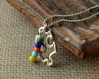 Puzzle Piece Autism Awareness Necklace Boho Silver Plate Pendant Your Choice Beads Multicolor Red Fashion Jewelry Lime Black Free Shipping