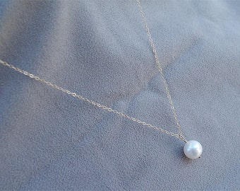 SPECIAL - Solitaire Single Pearl Necklace - White Pearl - Bridesmaid Jewelry - Gold Filled Swarovski Pearl - June Birthstone