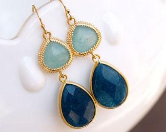 Navy Blue Earrings - Light and Dark Blue Earrings - Boho Earrings - Bezel Set Jade - Navy Earrings - Gold Filled Earwires - Gift for Her