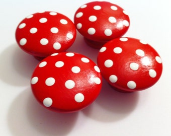 Red Polka Dot Dresser Knobs