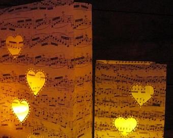 Heart Lanterns, Sheet Music, Heart Luminary Bags, Engagement Party, Wedding Decor, Proposals, Music Decorations, Rehearsal Dinner