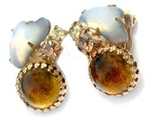 Juliana Opal Amber Earrings Vintage Rhinestone Jewelry Collectible Glass Unique High Fashion Earrings Amber Opal For Women