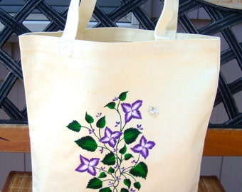 Tote Bag Hand Painted With Purple Flowers With Beaded Centers, Mothers Day Gift, Unique Gifts, Gifts for Her, Teacher Gift