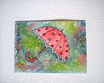 Umbrella Aceo Painting Watercolor Aceo Original Art Gift for Mom Artist Trading Card OOAK Aceo Hand Painted Watercolor Miniature Painting
